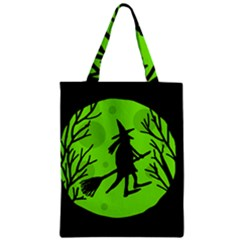 Halloween witch - green moon Zipper Classic Tote Bag