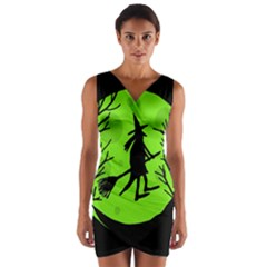 Halloween witch - green moon Wrap Front Bodycon Dress