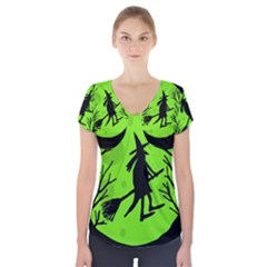 Halloween witch - green moon Short Sleeve Front Detail Top