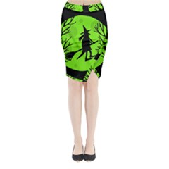 Halloween witch - green moon Midi Wrap Pencil Skirt