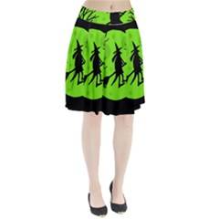 Halloween witch - green moon Pleated Skirt