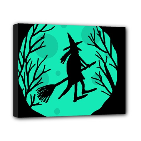 Halloween witch - cyan moon Canvas 10  x 8