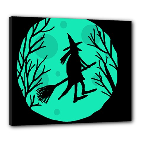 Halloween witch - cyan moon Canvas 24  x 20