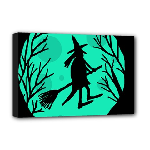 Halloween witch - cyan moon Deluxe Canvas 18  x 12