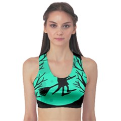 Halloween witch - cyan moon Sports Bra