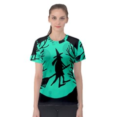 Halloween witch - cyan moon Women s Sport Mesh Tee