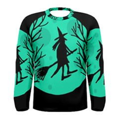 Halloween witch - cyan moon Men s Long Sleeve Tee