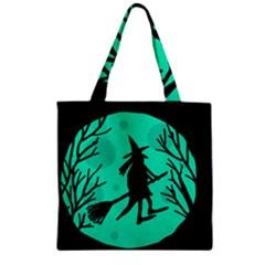 Halloween witch - cyan moon Zipper Grocery Tote Bag