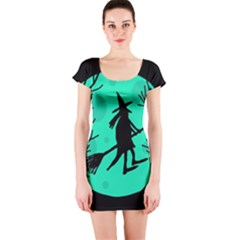 Halloween witch - cyan moon Short Sleeve Bodycon Dress