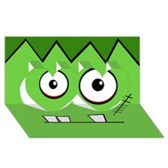 Halloween Frankenstein - green Twin Hearts 3D Greeting Card (8x4)