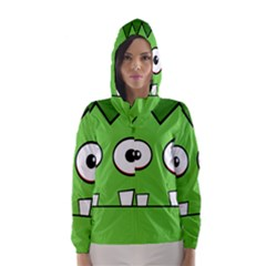 Halloween Frankenstein - green Hooded Wind Breaker (Women)