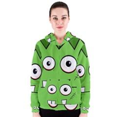 Halloween Frankenstein - green Women s Zipper Hoodie