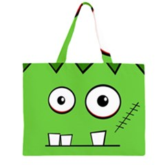 Halloween Frankenstein   Green Zipper Large Tote Bag