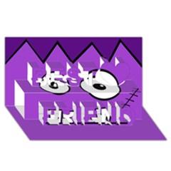 Halloween Frankenstein - Purple Best Friends 3D Greeting Card (8x4)