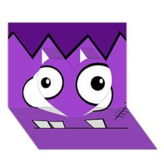 Halloween Frankenstein - Purple Heart 3D Greeting Card (7x5)