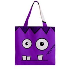 Halloween Frankenstein - Purple Zipper Grocery Tote Bag