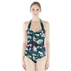 Modern Green and Pink Leaves Halter Swimsuit
