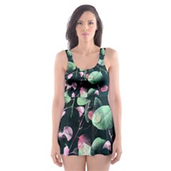Modern Green and Pink Leaves Skater Dress Swimsuit