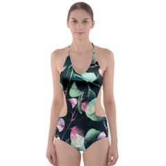 Modern Green and Pink Leaves Cut-Out One Piece Swimsuit