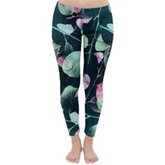 Modern Green And Pink Leaves Winter Leggings