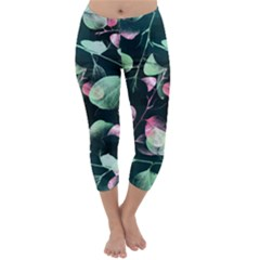 Modern Green and Pink Leaves Capri Winter Leggings