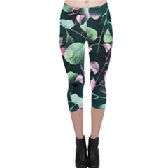 Modern Green And Pink Leaves Capri Leggings