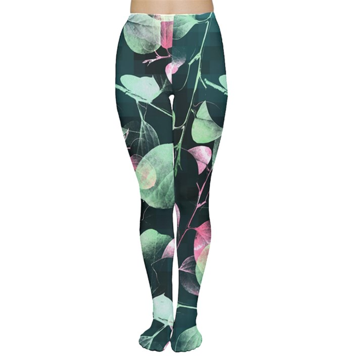 Modern Green and Pink Leaves Tights