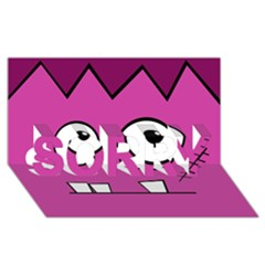 Halloween Frankenstein - pink SORRY 3D Greeting Card (8x4)