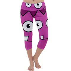 Halloween Frankenstein - pink Capri Yoga Leggings