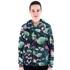 Modern Green And Pink Leaves Women s Zipper Hoodie