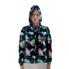 Modern Green and Pink Leaves Hooded Wind Breaker (Women)