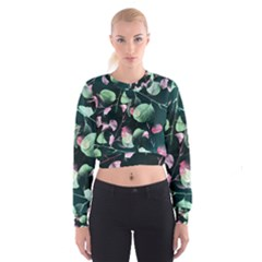 Modern Green And Pink Leaves Women s Cropped Sweatshirt