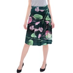 Modern Green And Pink Leaves Midi Beach Skirt