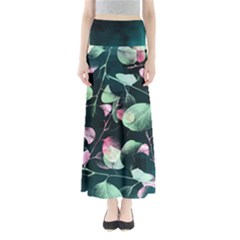 Modern Green And Pink Leaves Women s Maxi Skirt
