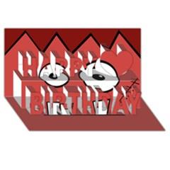 Halloween Frankenstein - Red Happy Birthday 3D Greeting Card (8x4)