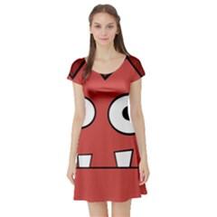 Halloween Frankenstein - Red Short Sleeve Skater Dress