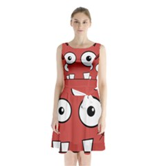 Halloween Frankenstein - Red Sleeveless Chiffon Waist Tie Dress