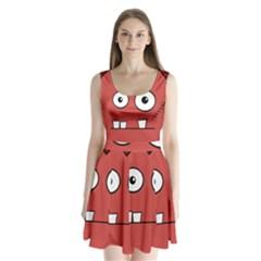 Halloween Frankenstein - Red Split Back Mini Dress