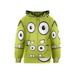 Halloween Frankenstein -Yellow Kids  Zipper Hoodie