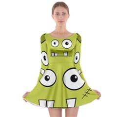 Halloween Frankenstein -Yellow Long Sleeve Skater Dress