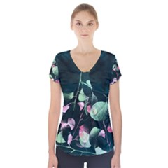 Modern Green and Pink Leaves Short Sleeve Front Detail Top