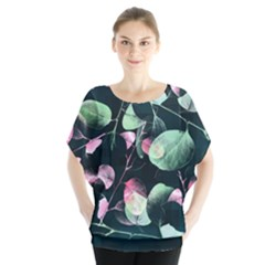 Modern Green And Pink Leaves Batwing Chiffon Blouse