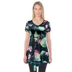 Modern Green And Pink Leaves Short Sleeve Tunic