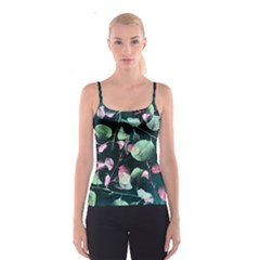 Modern Green and Pink Leaves Spaghetti Strap Top