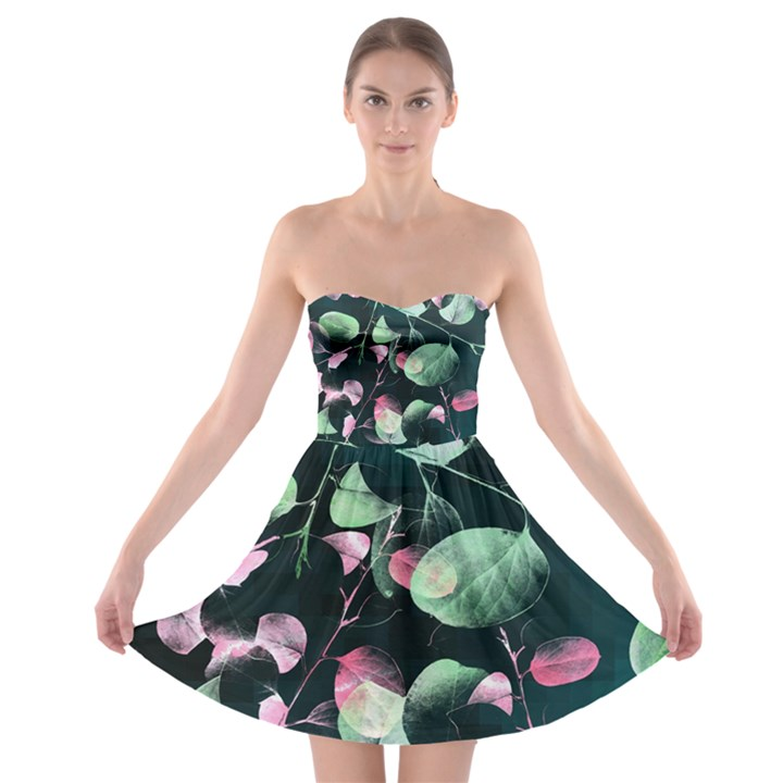 Modern Green and Pink Leaves Strapless Bra Top Dress