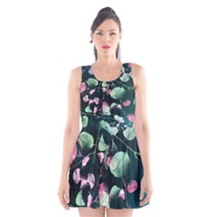 Modern Green and Pink Leaves Scoop Neck Skater Dress