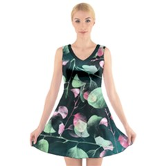 Modern Green And Pink Leaves V Neck Sleeveless Dress