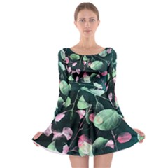Modern Green And Pink Leaves Long Sleeve Skater Dress