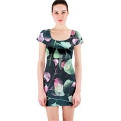 Modern Green and Pink Leaves Short Sleeve Bodycon Dress