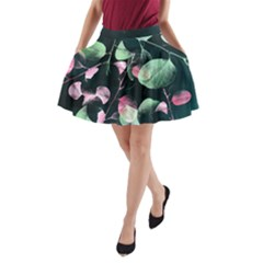 Modern Green and Pink Leaves A-Line Pocket Skirt